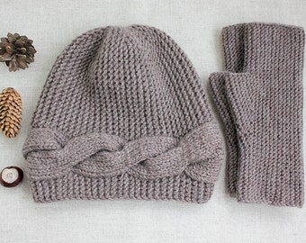 Clothing Gift knit Hat and gloves set, accessories knit Arm Warmers and Slouchy Beanie unisex customize, gift cap & Mittens for her and him