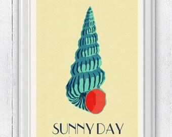 Sunny day - Pop Art Sea Shell - Sea life print - seashells wall art home decor -A 4 print SPS014