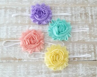 Spring Headband Set - Set of 4 Headbands - Preemie Headbands - Newborn Headband - Baby Shower Gift - Baby Girl Headband - Yellow Headbands