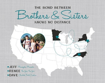 Custom Gift for Brothers and Sisters - Art Map, Your Photo in a Heart on a Map - Personalized Art, Long Distance Family, Map for Mom