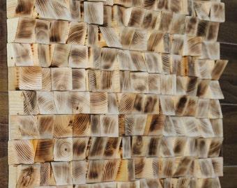 Woodburning FM 20x20 Reclaimed Wood wall Art, Wood mosaic, Geometric art, Wood wall art , Rustic Wood wall Art, Wood wall Abstract wood art