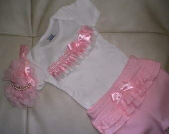 Baby Girl Outfit, Baby Clothing, Baby Shower Gift, Baby Girl Pants Set, 3 to 6 month