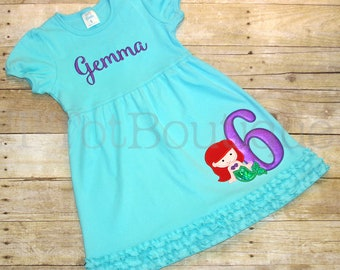 Special Order Item - Little Mermaid Birthday Embroidered Dress - Free Personalization