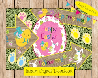 Digital DIY Easter Egg Hunt Pack.  Signs, Bunny Footprints. Instant Download. JPG. Bunny Rabbit. Eggs.
