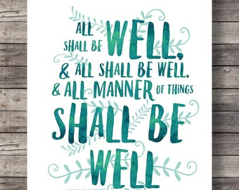 All shall be wellJulian of Norwich quote print | Printable art | Watercolor typography print |   Printable watercolor typography wall art