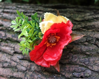 hair clip with red poppy