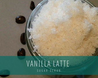 Vanilla Latte Sugar Scrub, Cane sugar scrub, All-Natural Sugar Scrub, Body Polish, Facial Scrub
