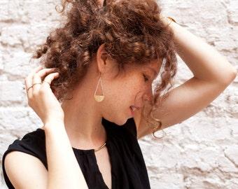 Long warm golden brass dangle earrings in balance with silver. Tribal, geometrical, very feminine. Confortable to wear!