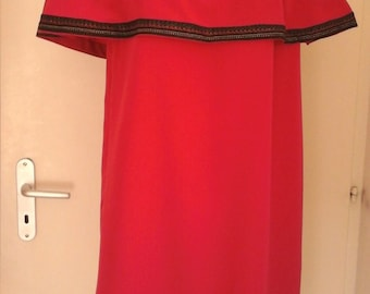 dress neckline vollant elasticated fuchsia pink