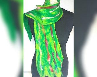 Scarf, felt scarf, wool scarf, merino wool scarf, green scarf, merino wool felt scarf, gift