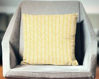 Yellow Pillow | Yellow Throw Pillow | Yellow Pillow Case  | Yellow Pillow Cover | Yellow Chevron Pillow | Herringbone Pillow | Chevron