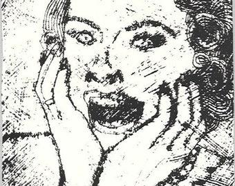 Screaming Woman-NO!-Retro Midcentury Housewife Meltdown-Collograph Monoprint-6 x 8