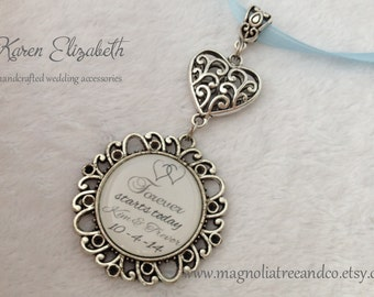Bridal Bouquet Charm, Wedding Bouquet Charm, Memorial Charm, Silver Pendant, Custom Photo, Karen Elizabeth, Heart Wedding Charm (BC002)