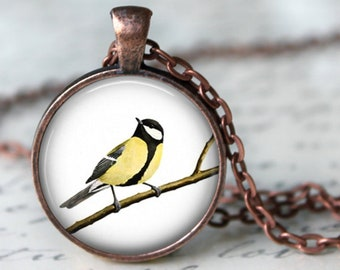 Oriole on a Branch Pendant, Necklace or Key Chain - Choice of 4 Bezel Colors - Spring, Birds