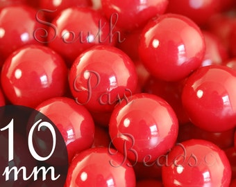 10mm Swarovski beads, Red Coral, Qty 10