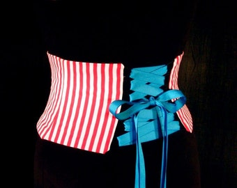 Striped Corset / Circus Waist Cincher Costume Belt / Red and White Pirate Sash / Retro Waspie / Halloween / Plus Sizes / Steel Boning Option
