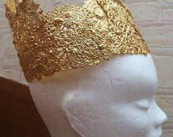 Metal queen Crown Princess gold rhinestone