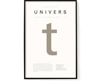 """Univers Poster, Screen Printed, Archival Quality, Wall Art, Poster, Designer Gift, Typography Print, 24"""" x 36"""""""