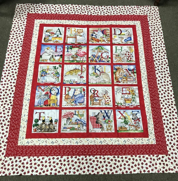 Quilt Top using Hungry Animal Alphabet by: Tidings of Great Joy J Wecker Frisch of Quilting Treasures