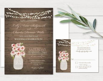 Rustic Wedding Invitation Rustic Mason Jar Invitations Blush Peony Country Wedding Suite Rsvp Card Too Blush Pink DIY Printable Template Kit