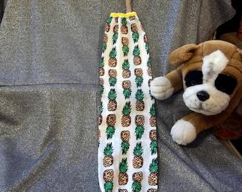 Plastic Bag Holder Sock, White Pineapples Print