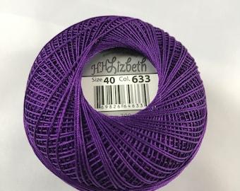 FULL SPOOL - Lizbeth Tatting Thread - Solid Dark Purple - Color #633 - Size 40 - Handy Hands - 300 Yards
