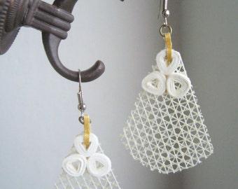 Lacy mixed media earrings/super light hook earrings