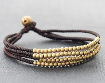 Layer Multi Strand Brass Woven Bracelet