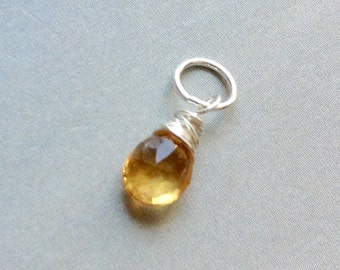 Petite Citrine Pendant, Citrine Necklace,  November birthstone necklace, sterling silver, gold filled, natural gemstone, Birthstone Pendant