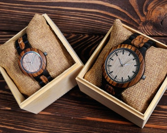 Watches for Romantic Couples Gift Set Women and Men Wooden Watches Personalized Watches for couple Engraved Watches Gifts for Couple