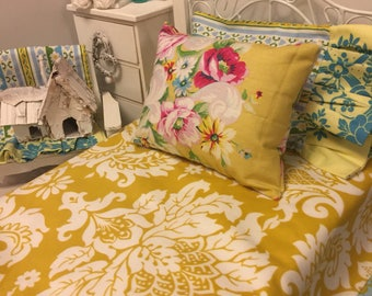 Ruffled Doll Bedding 18 inch Doll Size - Jennifer Paganelli fabric