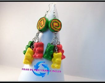Earrings small Teddy bear polymer clay and spiral cane.