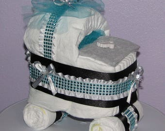 Diaper Carriage, Diaper Baby Carriage, Baby Shower Centerpiece, Baby Diaper Buggy