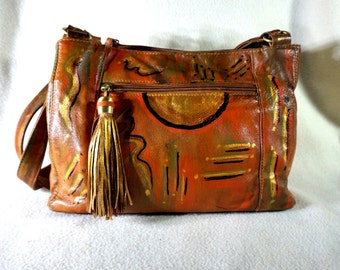 Cabin Creek Leather Handbag, ' Panache ' One of a Kind, Hand Painted Abstract Design