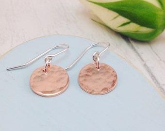 Copper Drop Earrings, Circle Earrings, Copper Hammered Circle Earrings, Copper Earrings, Copper Disc Earrings, Copper Circle Drop Earrings