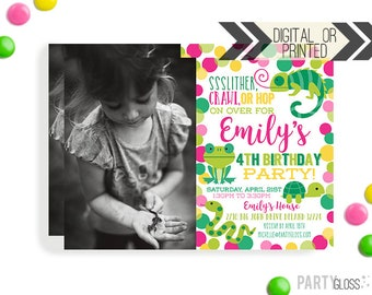 Girl Reptile Invitation | Digital or Printed | Girly Reptile Invitation | Girl Turtle Invite | Girl Lizard Invite | Girl Snake Invite