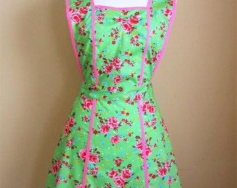 1940s Style Apron / Retro Apron / Vintage Style Apron / Floral Apron / Pinafore Apron / Green and Pink Apron / Womens Apron/ Handmade Apron