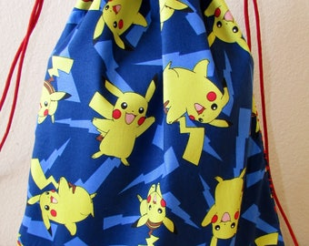 Drawstring Bag Made With Pokemon Fabric Pikachu Reversible, Pokemon Bag, Pokemon Fabric, Awesome Bag, Nerdy Gift, Nerdy Backpack, Gamer Bag