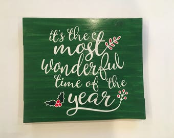 It's the Most Wonderful Time of the Year, Christmas Sign, Rustic Sign, Christmas Decor, Christmas Trees, Wooden Sign, Home Decor