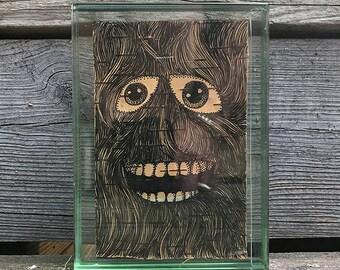 Friends and Neighbors 6. Ink on birchbark. 4x6, framed.