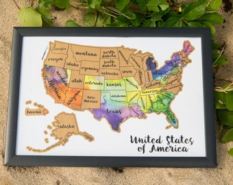Scratch off map etsy travel gift scratch your travels usa map united states of america us watercolor art gumiabroncs Images
