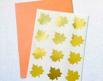 Maple Leaf Stickers / Labels in Gold Foil or Kraft