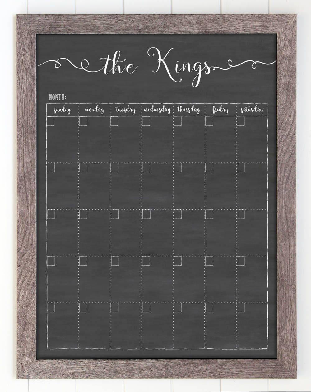 Chalkboard Calendar Canada : Calendar chalkboard dry erase framed wall