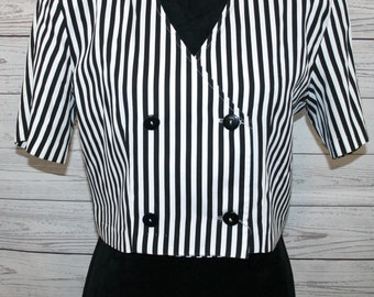 VINTAGE! Women's All That Jazz Cropped Black & White Shoulder Pad Jacket Sz 9/10
