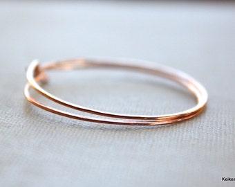 Copper Hoop Earrings Simple Round Hammered Hoops 20 Gauge Handmade Jewelry