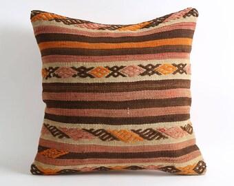 20x20 boho cushion striped brown throw pillow cover, pillowcases, vintage kilim, tribal decor, tribal cushion, moroccan decor, boho chic