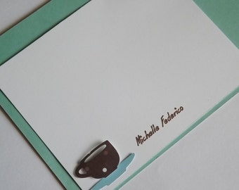 Set of 8 Custom Pearsonlaize Coffee notecards stationary.