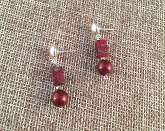 Antique Czech glass beads and Swarovski pearls on stud earrings