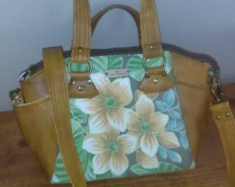 Leather and Tropical print Handbag, Shoulder Bag, Brown, Greens, Palm Leaves