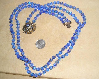Vintage Lovely Blue Cut AB Crystal Necklace 2 Strand With Crystal Rhinestones 1960's Jewelry 11176